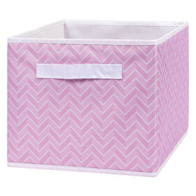 Pink Herringbone Canvas Storage Bin