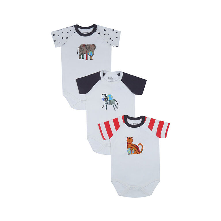 earth by art & eden - Bailey Bodysuit - 3-Pack L/S Bodysuit - Whisper - White Multi, 12 Months