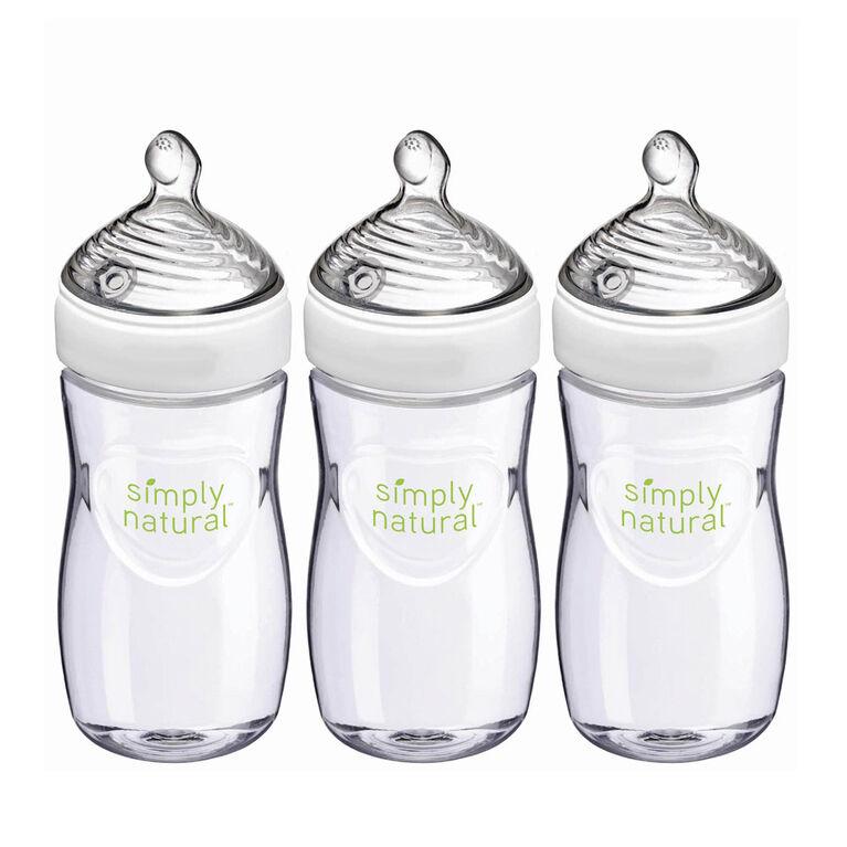 Biberons NUK Simply Natural, 9 oz, paquet de 3, 1 mois et plus