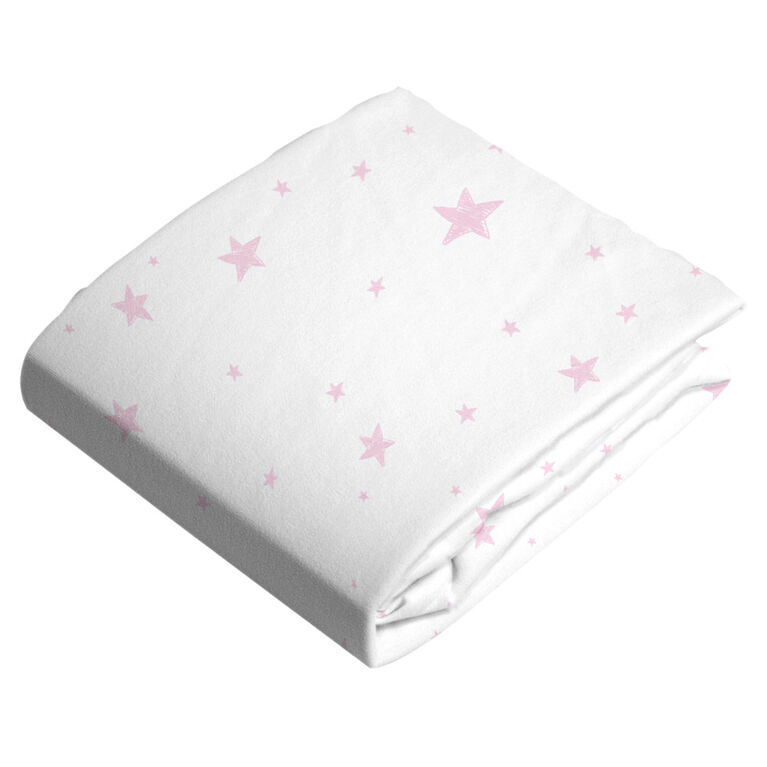Kushies Baby Contour Change Pad Cover Flannel Pink Scribble Stars