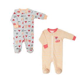 Koala Baby Girls 2 Pack Sleeper - Fox Peach, 12 Months