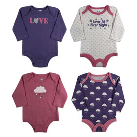 Rococo 4 Pk Bodysuit - Assorted colors, 12-18 Months