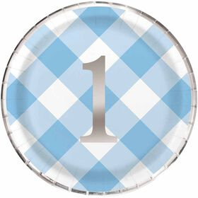 Blue Gingham 1st Birthday Assiettes 9po, 8un
