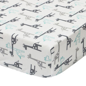 The Peanutshell Uptown Giraffe Cotton Fitted Crib Sheet