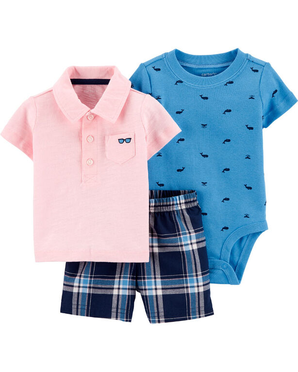 Carter's 3 piece Pink Polo Set - 3-6 Months
