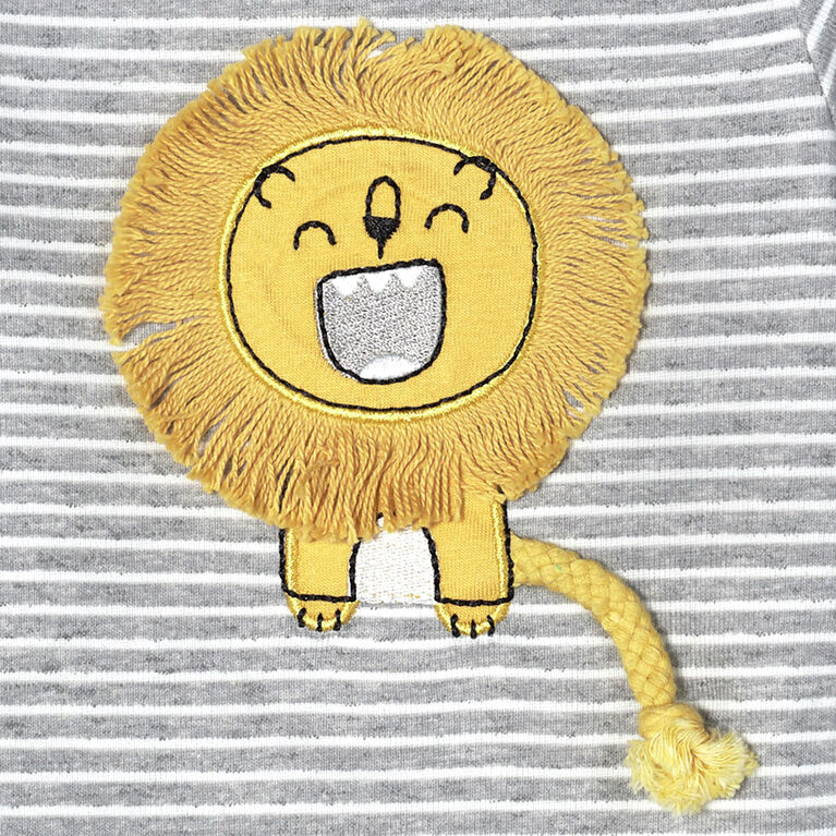 Just Born Baby Boys 2-Piece Organic Long Sleeve Onesies Bodysuit and Pant Set - Lil Lion 3-6 Months