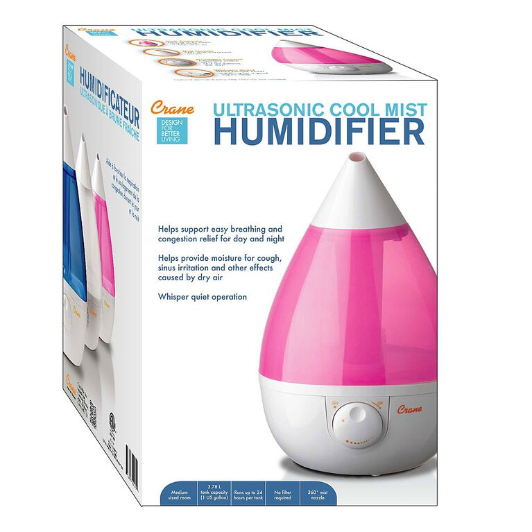 Crane Drop Shape Ultrasonic Cool Mist Humidifier - Pink