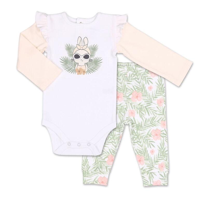 Koala Baby Tropical Girl Bunny Bodysuit/Floral Jogger 2 Piece Set, 24 Month
