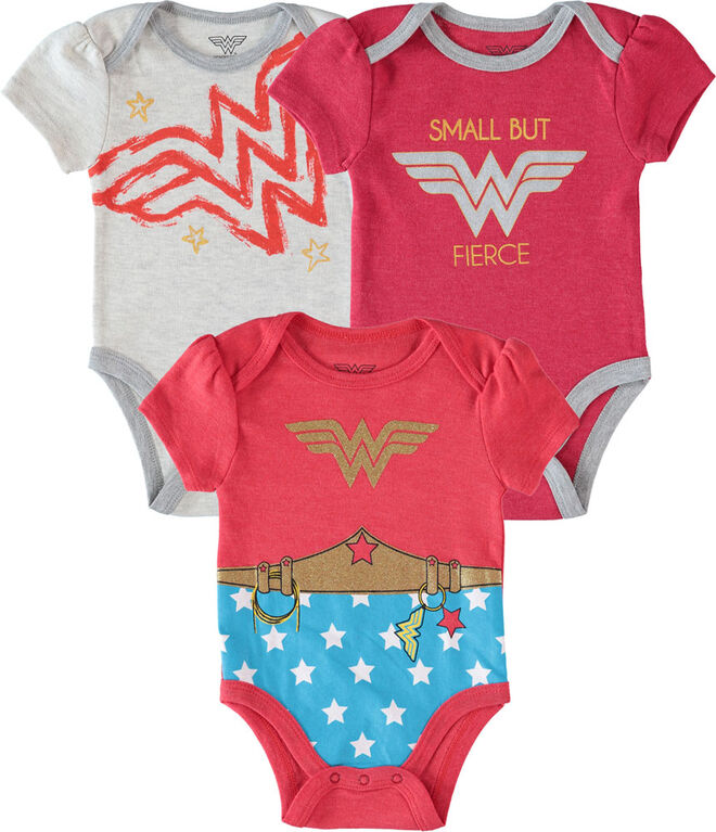 Wonder Woman Newborn 3 Pack Bodysuit 6-9M Red