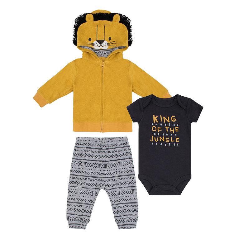PL Baby Safari Themed Hoodie Set Golden Yellow 12M