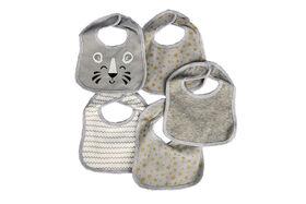 Koala Baby 5 Pack Jersey Knit Bibs - Grey