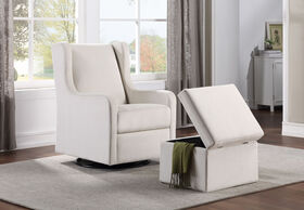 Lennox Glider Swivel with Storage Ottoman Luca Cream