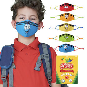 Crayola Kids Reusable Cloth Face Mask Set, Tip Faces