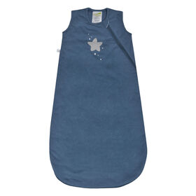 Perlimpinpin quilted cotton sleep bag - Blue star, 0-6 Months