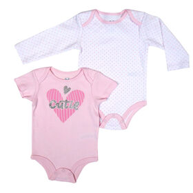 Rococo 2 PK Bodysuit - Pink, Newborn