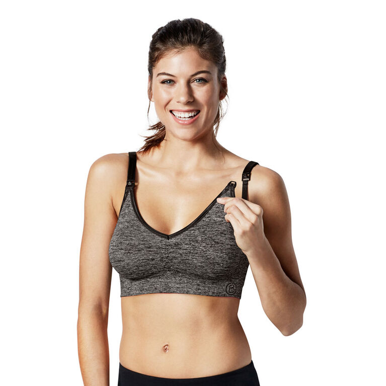 Bravado Designs Body Silk Seamless Yoga Nursing bra - Charcoal Heather, Small