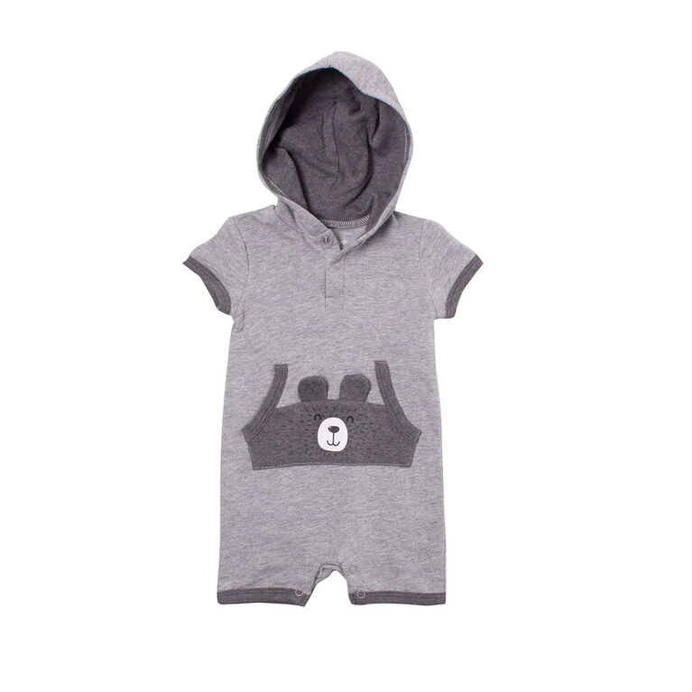 Snugabye Unisex Hooded French Terry Romper -Grey Mix Bear 6-9 Months