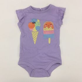 Coyote and Co. Ice Cream Print Lilac Ruffle Sleeve bodysuit - size 9-12 months
