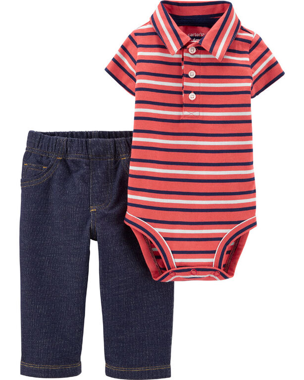 Carter's 2-Piece Striped Polo Bodysuit Pant Set - Coral/Blue, 9 Months