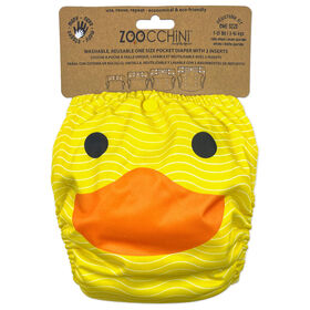 Zoocchini - Cloth Diaper & 2 Inserts - Duck - One Size - 7-35 lbs
