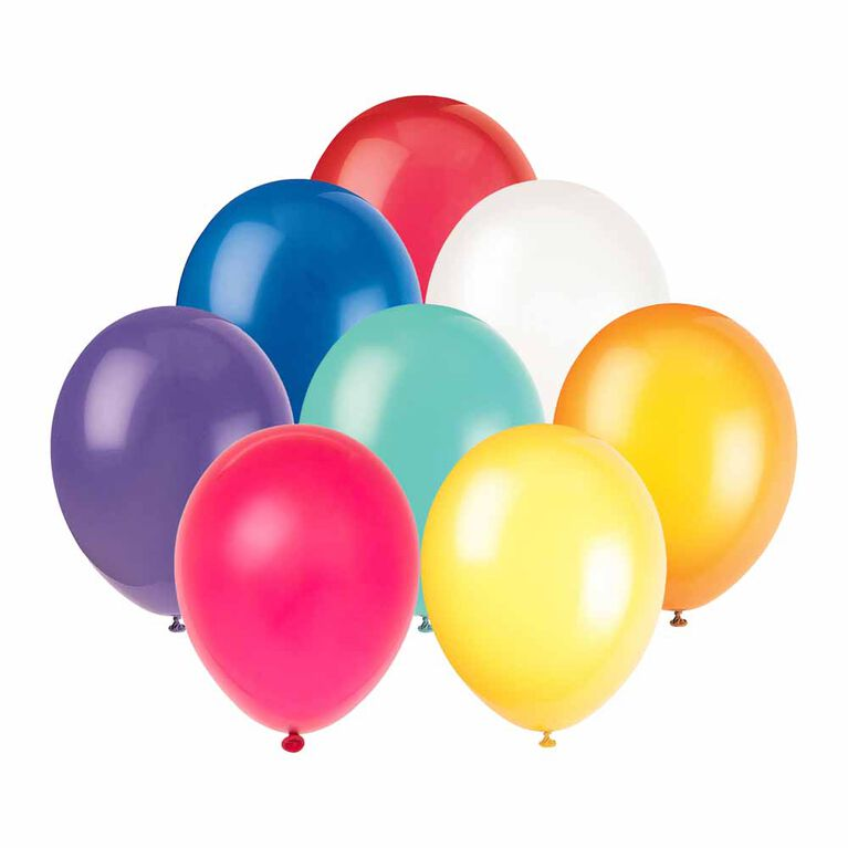 "9"" Latex Balloons, 20 Pieces - Assorted Colours"