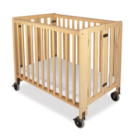 Foundations wood compact folding crib - natural finish