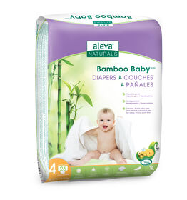 Aleva Naturals Bamboo Baby Diapers - Size 4 (20-30lbs/9-13kg) - 26 Count