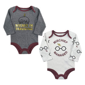 Harry Potter 2 Pack Bodysuits - Grey, 6 Months.