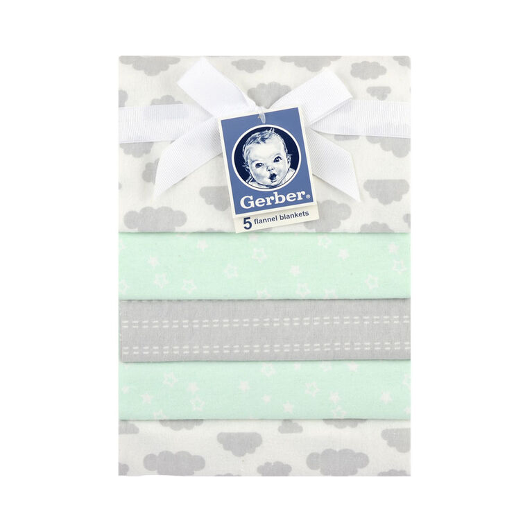 Gerber 5-Pack Green Flannel Receiving Blankets