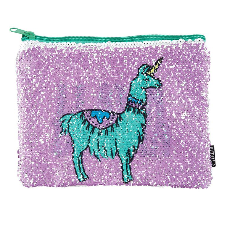 Style Lab Magic Sequin Pouch - Llama Drama