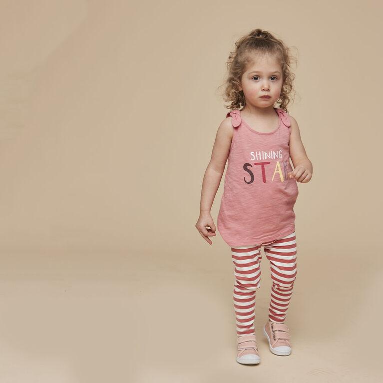 organic play legging, 18-24m - dark rose stripe