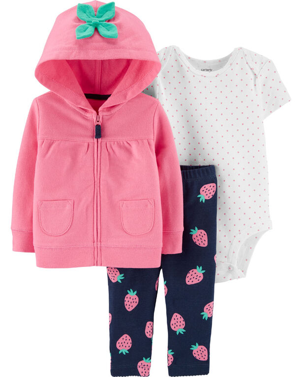 Carter's 3-Piece Strawberry Cardigan Set - Pink, 12 Months