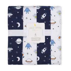 Fall's Creek  4Pk Receiving Blankets - Rockets & Moon - English Edition