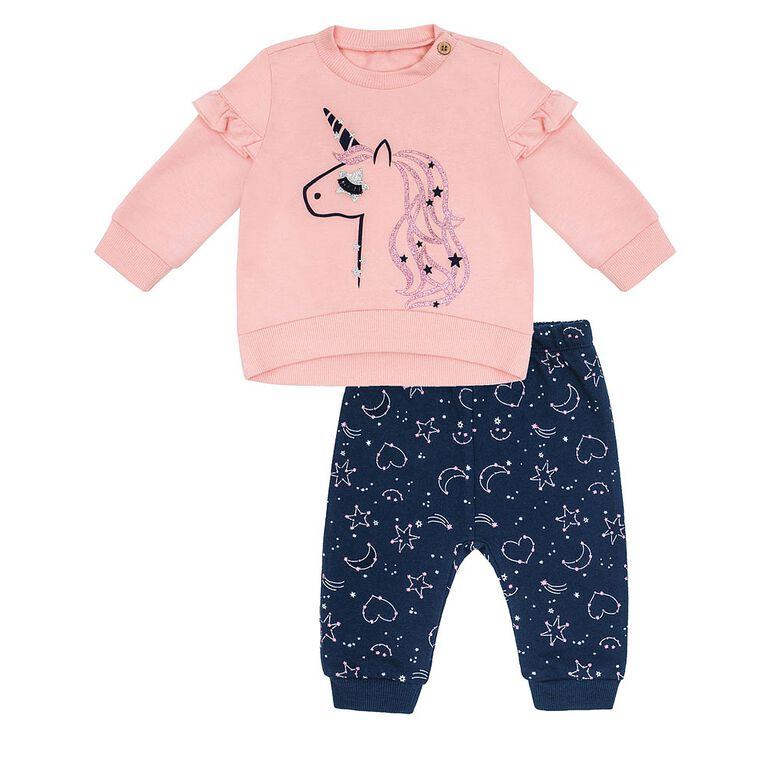 Petit Lem -  Baby Girls Top & Jogger Set 2pc Night Magic Pink, 3 Months