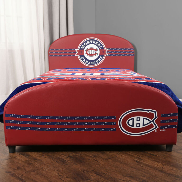 Nemcor - Twin NHL Montreal Canadiens Upholstered Bed Frame