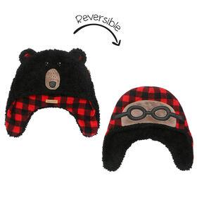 FlapJackKids - Bonnet en polaire Sherpa réversible pour bébé, enfant en bas âge, enfant, garçon - Double épaisseur - Ours noir / aviateur - Petit 6-24 mois