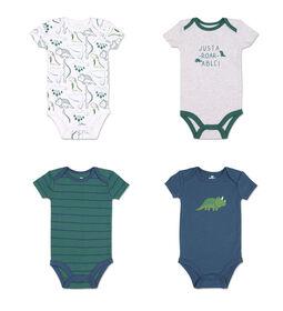 Koala Baby 4Pk Short Sleeved Bodysuit, B Dino, Newborn