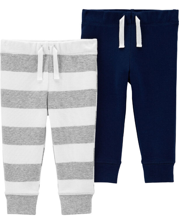 Carter's 2-Pack Pull-On Pants - Navy/Grey, 12 Months