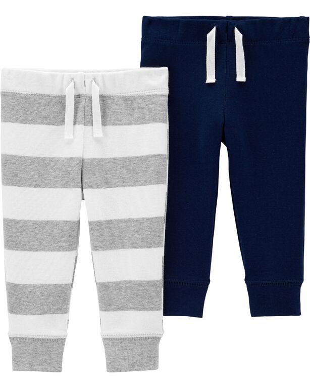 Emballage de 2 pantalons à enfiler Carter's – marine/gris, 12 mois