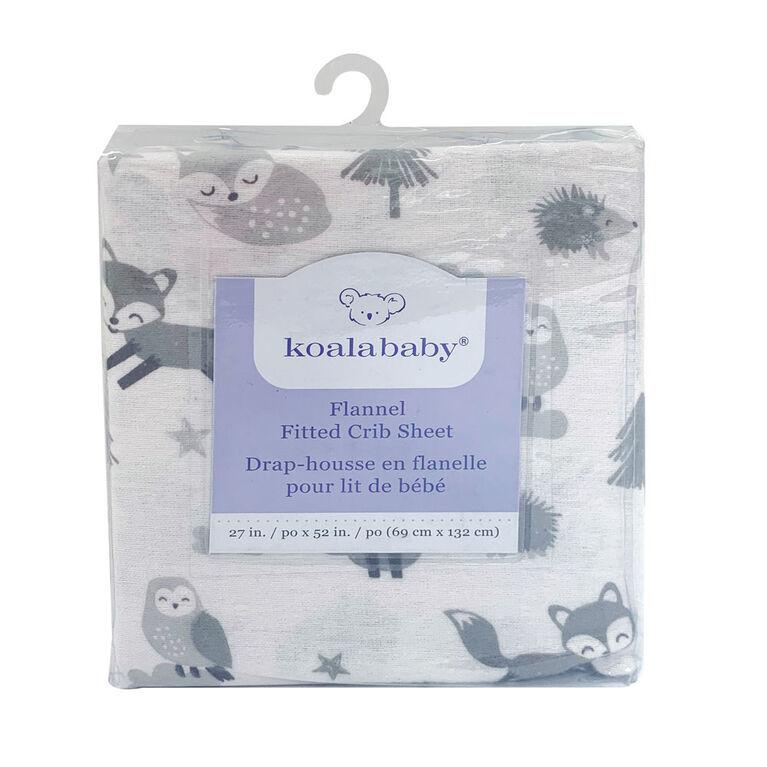 Koala Baby - Paquet de 1 drap de lit de bébé Fox Island en flanelle