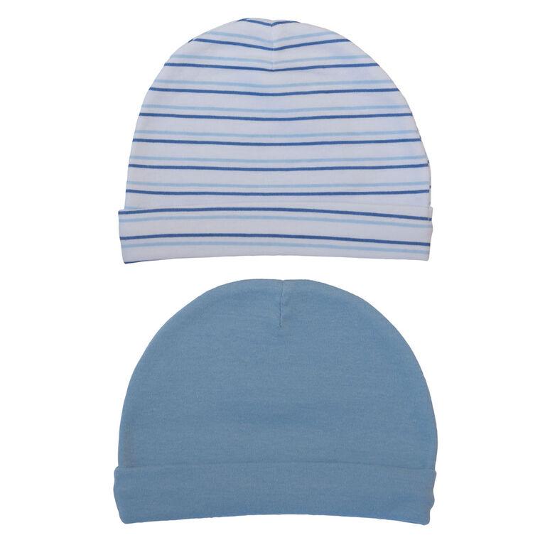 Koala Baby Esemble 2 bonnets Bleu, 0-3 mois
