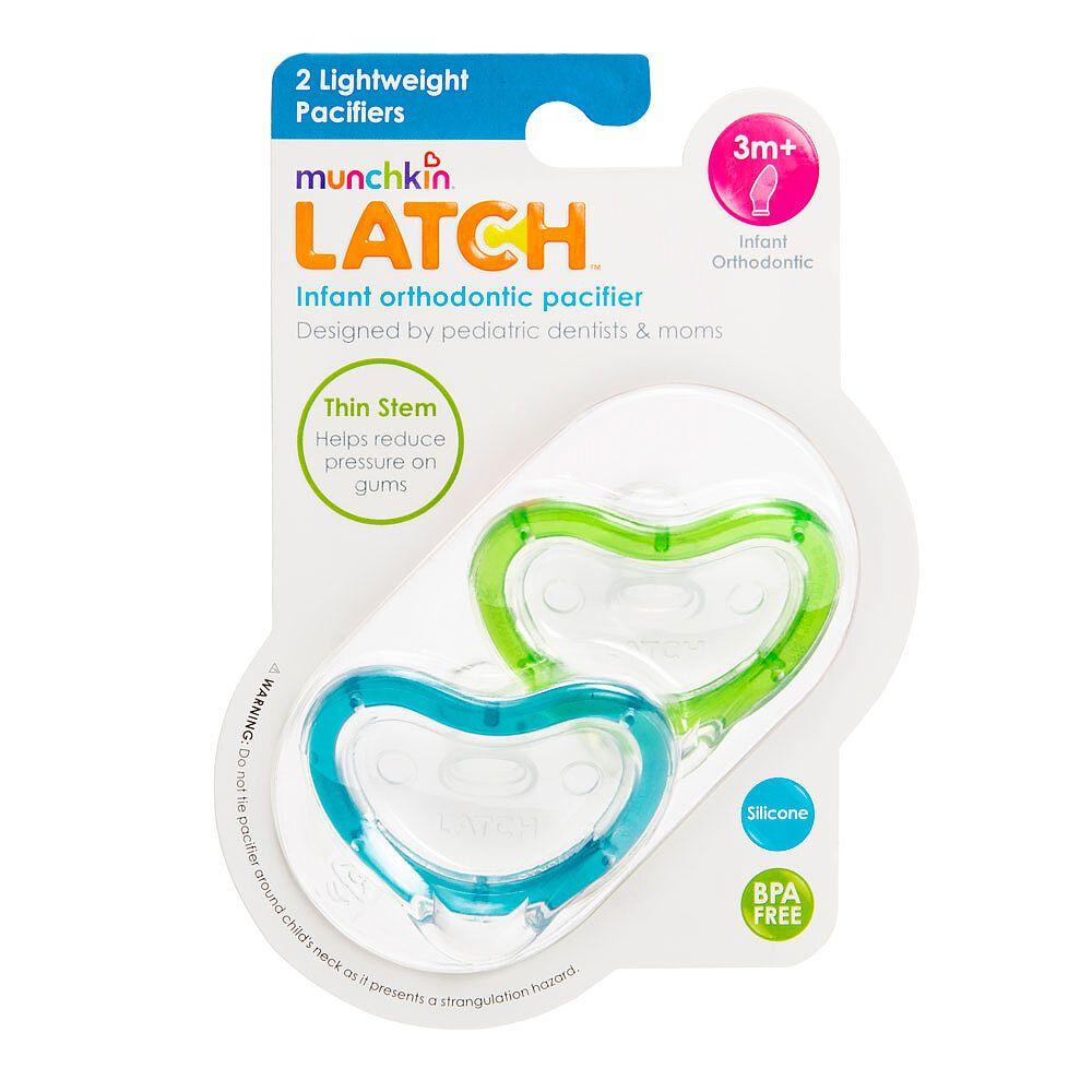 Munchkin Latch Lightweight Pacifier 2 Count Blue//Green 0+ Months