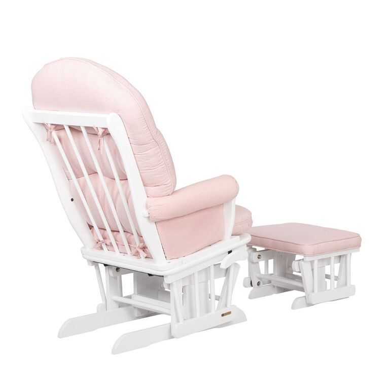 Lennox Furniture Carson White Glider & Ottoman Pink Ticking