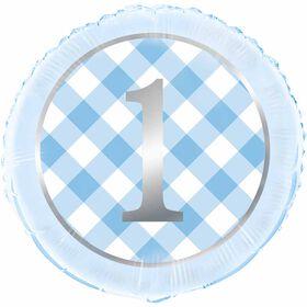 "Ballon aluminium rond, 18 "" - Blue Gingham 1st Birthday"