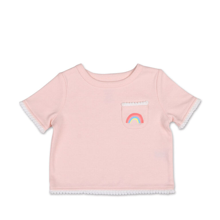 Koala Baby Pink Pom Pom Trim and Rainbow Pocket Tee - 6-12 Months