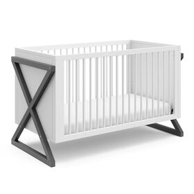 Storkcraft Equinox 3-in-1 Convertible Crib - White/Grey.