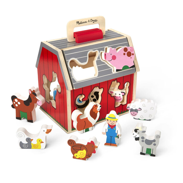 Melissa & Doug - Wooden Take-Along Sorting Barn Toy with Flip-Up Roof and Handle - 10 Wooden Farm Play Pieces - English Edition