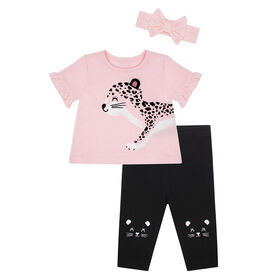 PL Baby Feline Fabulous Day Care Set w/Headband Coral 6M
