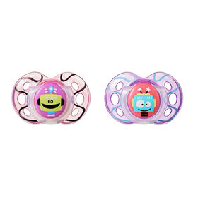 Tommee Tippee Closer to Nature 2-Pack 18-36m Fun Pacifier -Pink/Purple