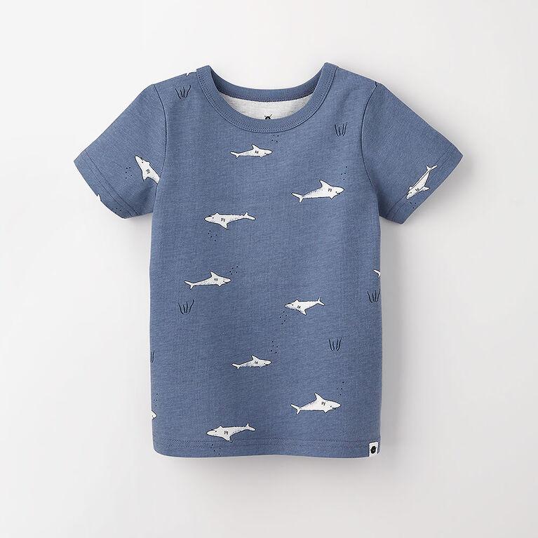 18-24m t-shirt imprimé à manches courtes - ciel